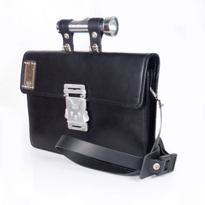 Vintage black leather briefcase industrial unusual handle and lock