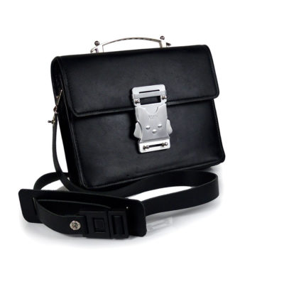 Vintage black leather briefcase shoulder bag