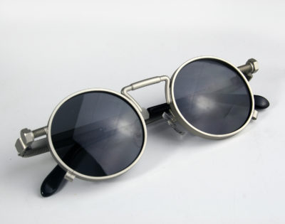 Round Steampunk sunglasses with spring on temples metal frame polarised lens GS-1985 small