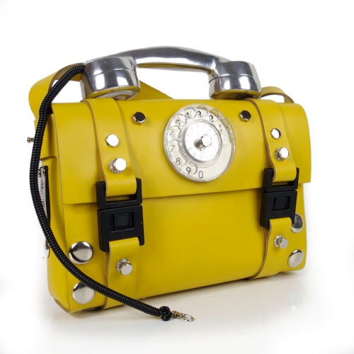 yellow leather shoulder bag