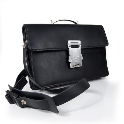 Vintage black leather briefcase metal handle
