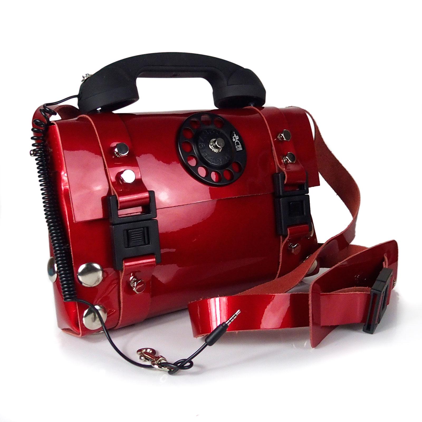 red shiny leather shoulder bag handbag with retro handle unusual statement bag