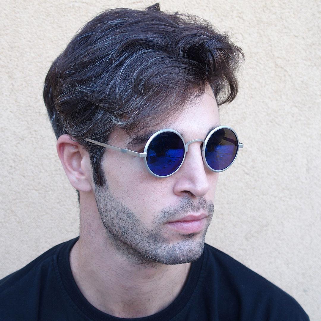 round sunglasses metal frame polarised lens