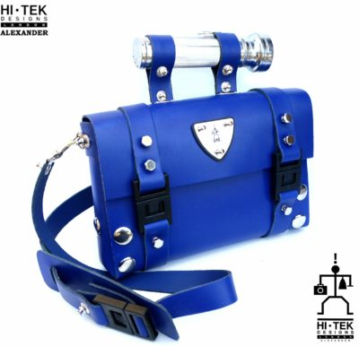 blue leather shoulder bag statement unusual handle Hi Tek