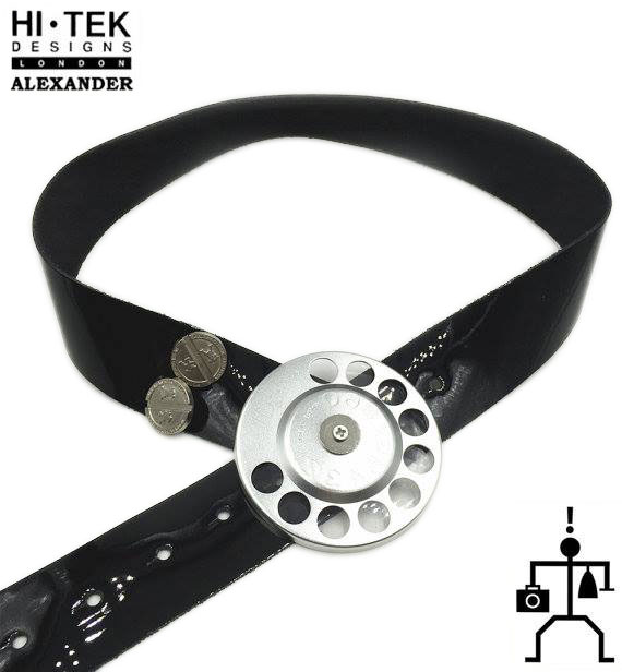 black shiny leather belt with large round telephone dial buckle unusual statement belt