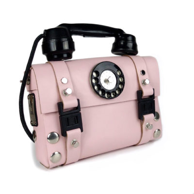 pink leather shoulder bag for women unusual handle Bakelite telephone limited edition