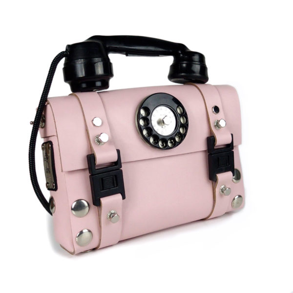 pink leather shoulder bag for women unusual handle Bakelite telephone limited edition