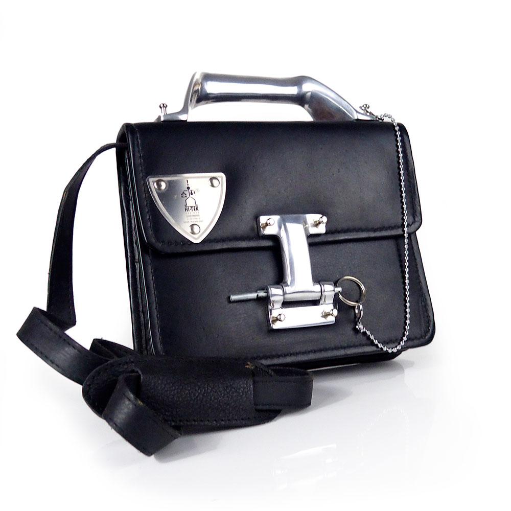 9085300fdfa0 black leather crossbody bag Vintage Goth industrial Steampunk unusual unique  futuristic statement art