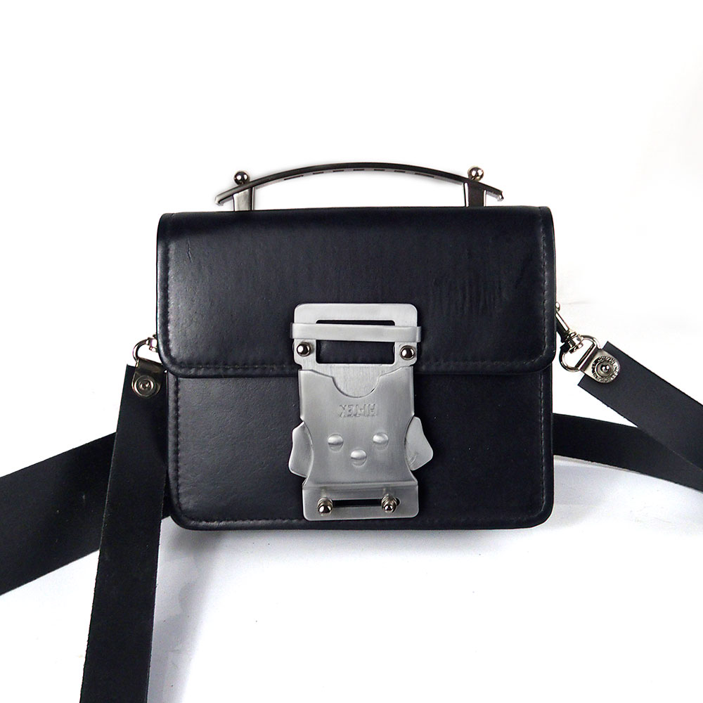 black leather crossbody bag Vintage Goth industrial Steampunk unusual unique futuristic statement art