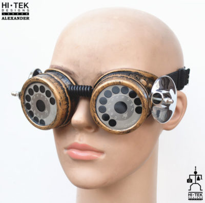 steampunk goggles weathered brass black lenses telephone dial ocular stainless steel lens