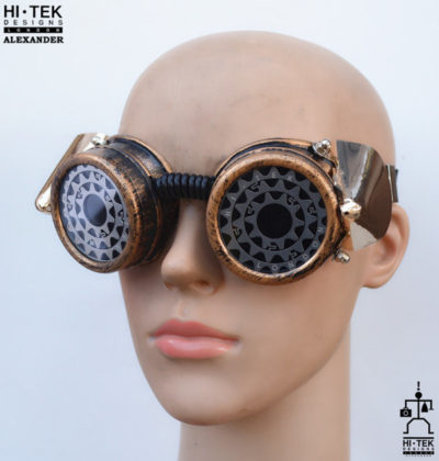 steampunk goggles weathered brass black lenses owl eyes ocular stainless steel lens