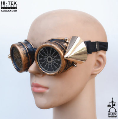 steampunk goggles weathered brass black lenses bicycle ocular stainless steel lens