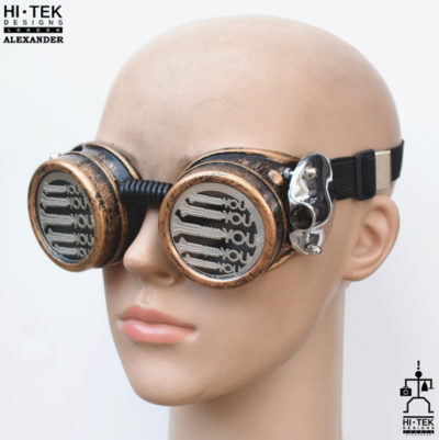 steampunk goggles weathered brass black lenses screw you ocular stainless steel lens