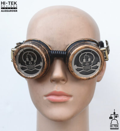 steampunk goggles weathered brass black lenses skull ocular stainless steel lens