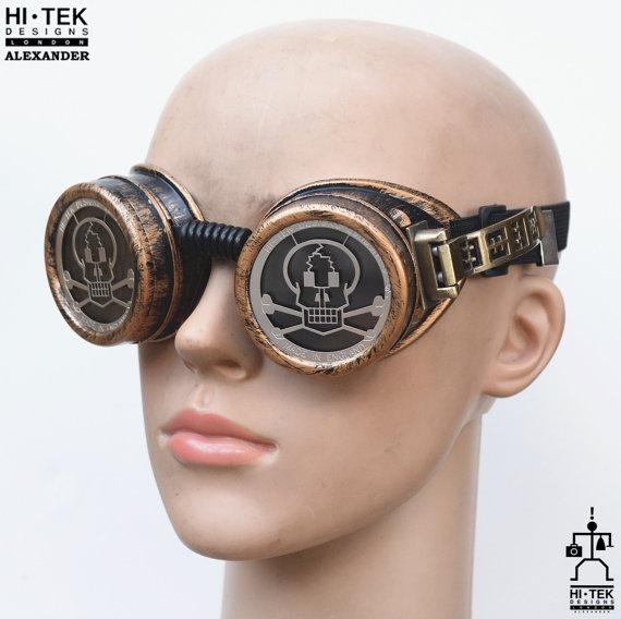 steampunk goggles weathered brass black lenses skull ocular stainless steel lens
