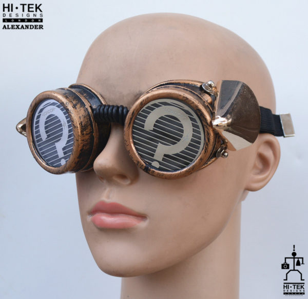 steampunk goggles weathered brass black lenses question mark ocular stainless steel lens