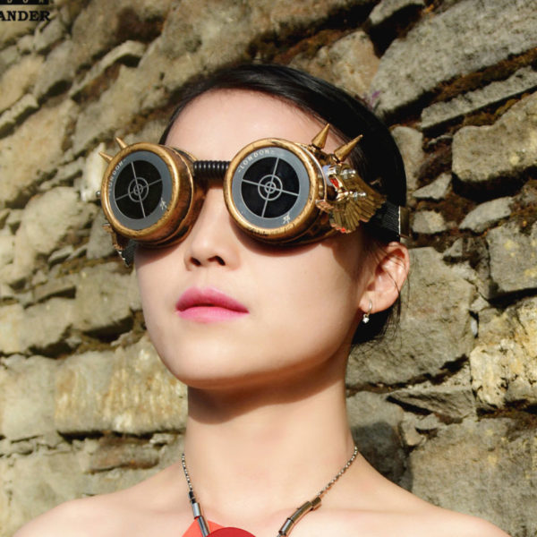 steampunk goggles weathered brass black lenses gold wings target ocular stainless steel lens