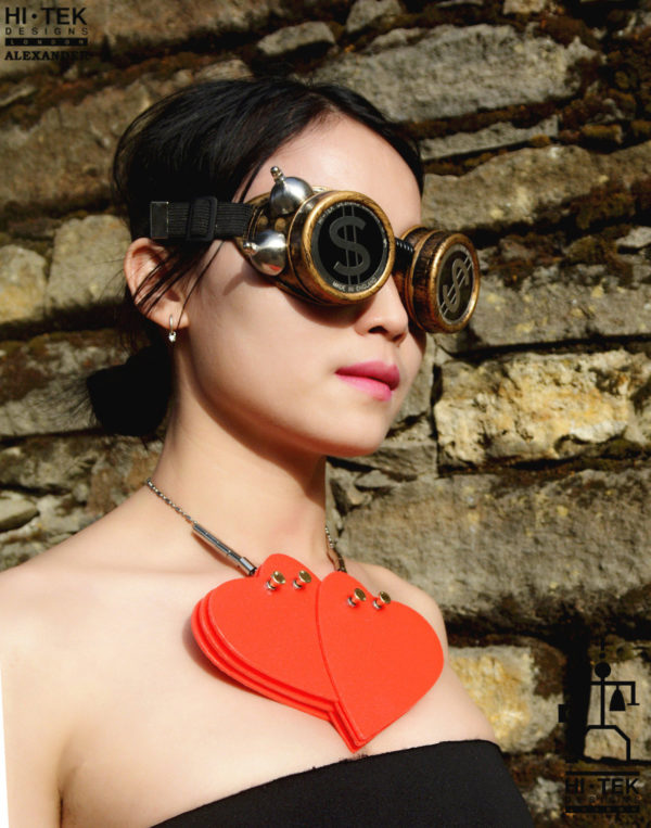 steampunk goggles weathered brass black lenses dollar sign ocular stainless steel lens