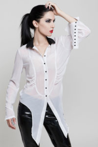 white shirt black collar for woman knot at waist Hi Tek
