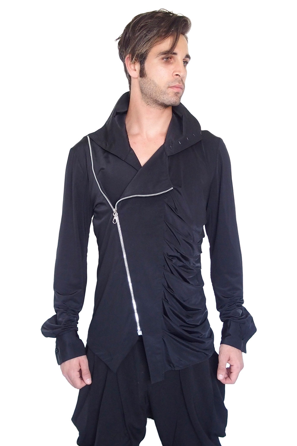 Mens Shirt Asymmetric With Zipper Unusual Hi Tek Hi Tek