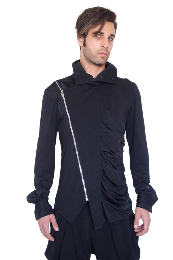 mens shirt asymmetric with zipper unusual Hi Tek