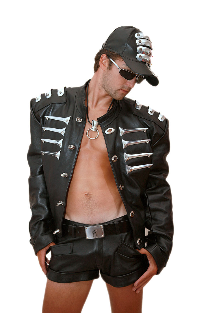 black leather statement jacket for men with metal components military rock style Hi Tek