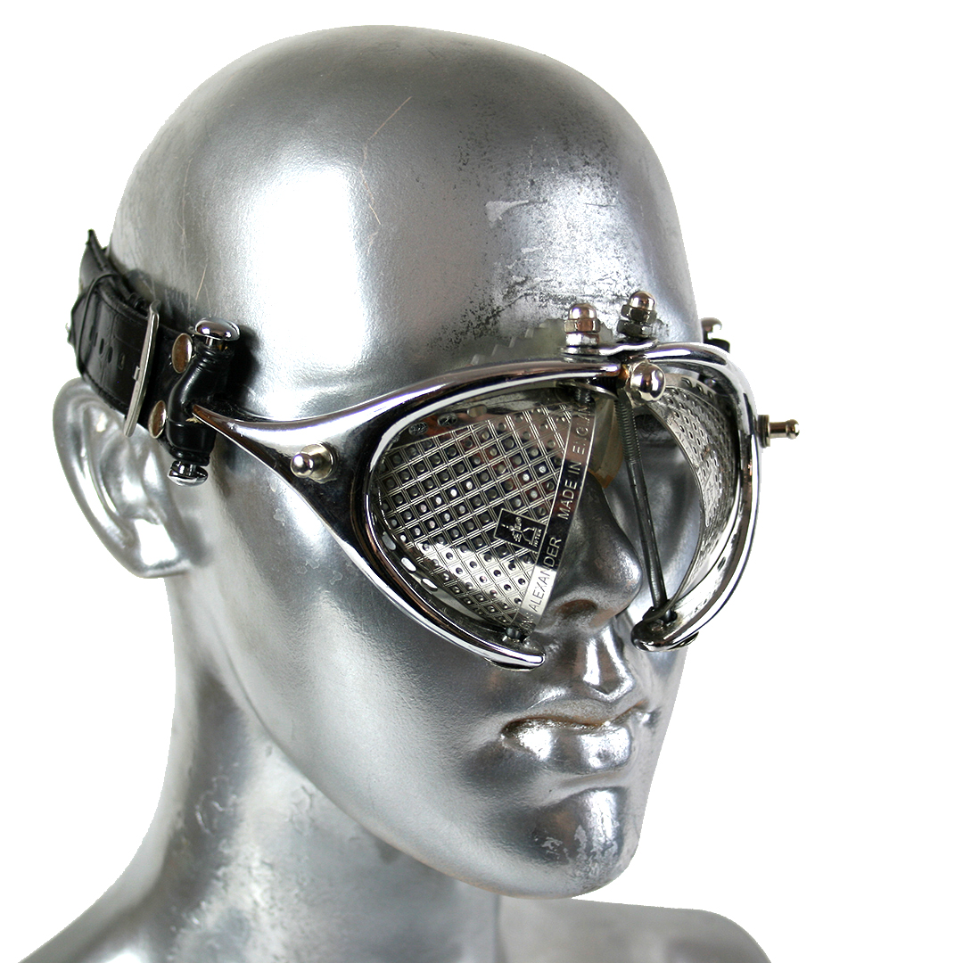 handmade futuristic modern steampunk eyewear for artists metal lens