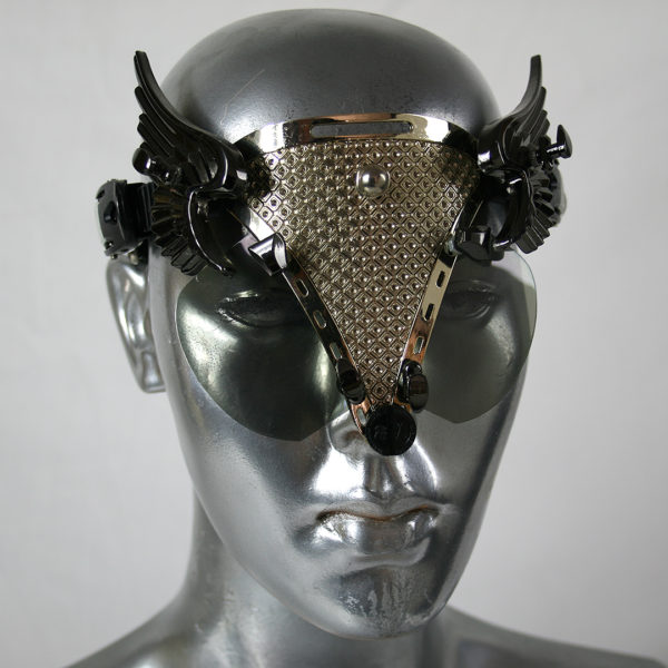handmade futuristic modern steampunk eyewear for artists with black angel wings