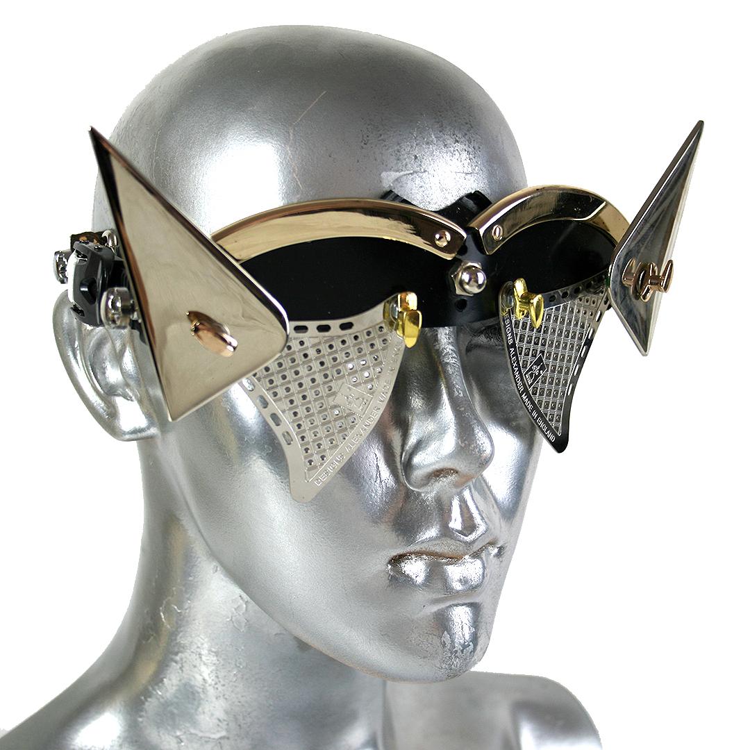 handmade futuristic modern steampunk eyewear for artists with horns
