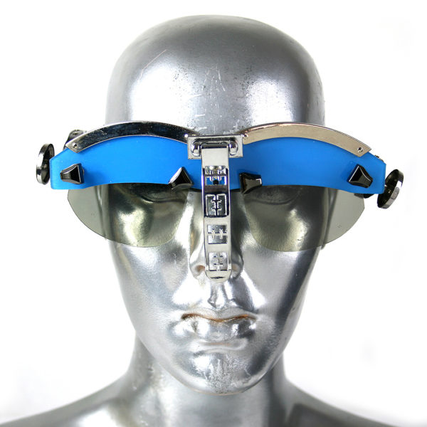 handmade futuristic modern steampunk eyewear for artists Spartan nose shield blue face