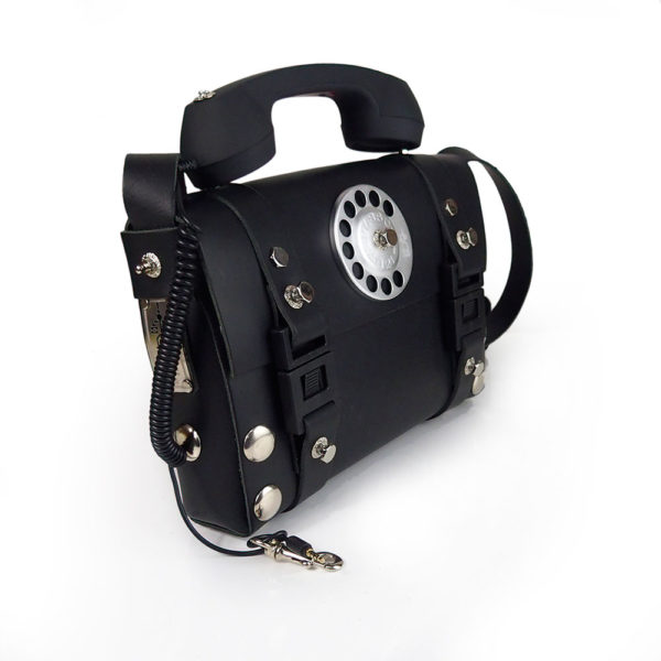 mens black leather crossbody shoulder bag with telephone handle unusual unique