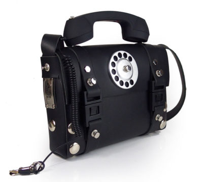 black leather shoulder bag handbag purse for women with telephone handle unusual unique