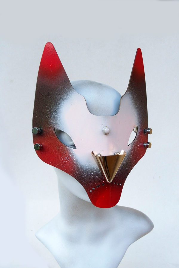 handmade feline mask horns fox cat Halloween Venice Carnival Cosplay Catwalk