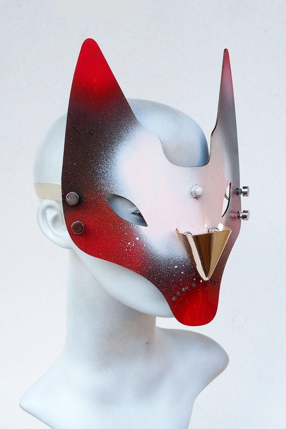 handmade feline mask horns fox cat Halloween Venice Carnival Cosplay Catwalk