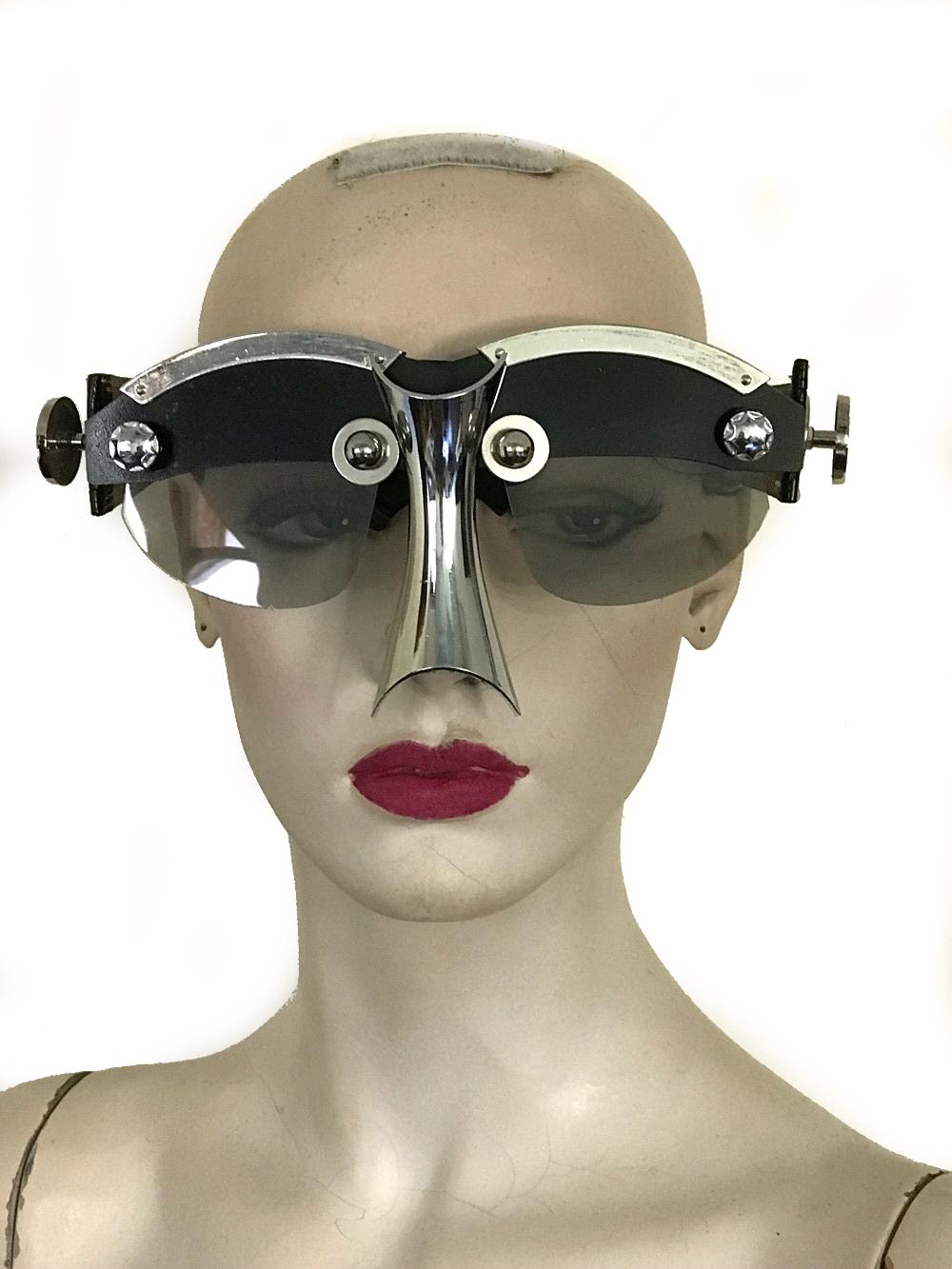 handmade futuristic modern steampunk eyewear for artists Spartan nose shield