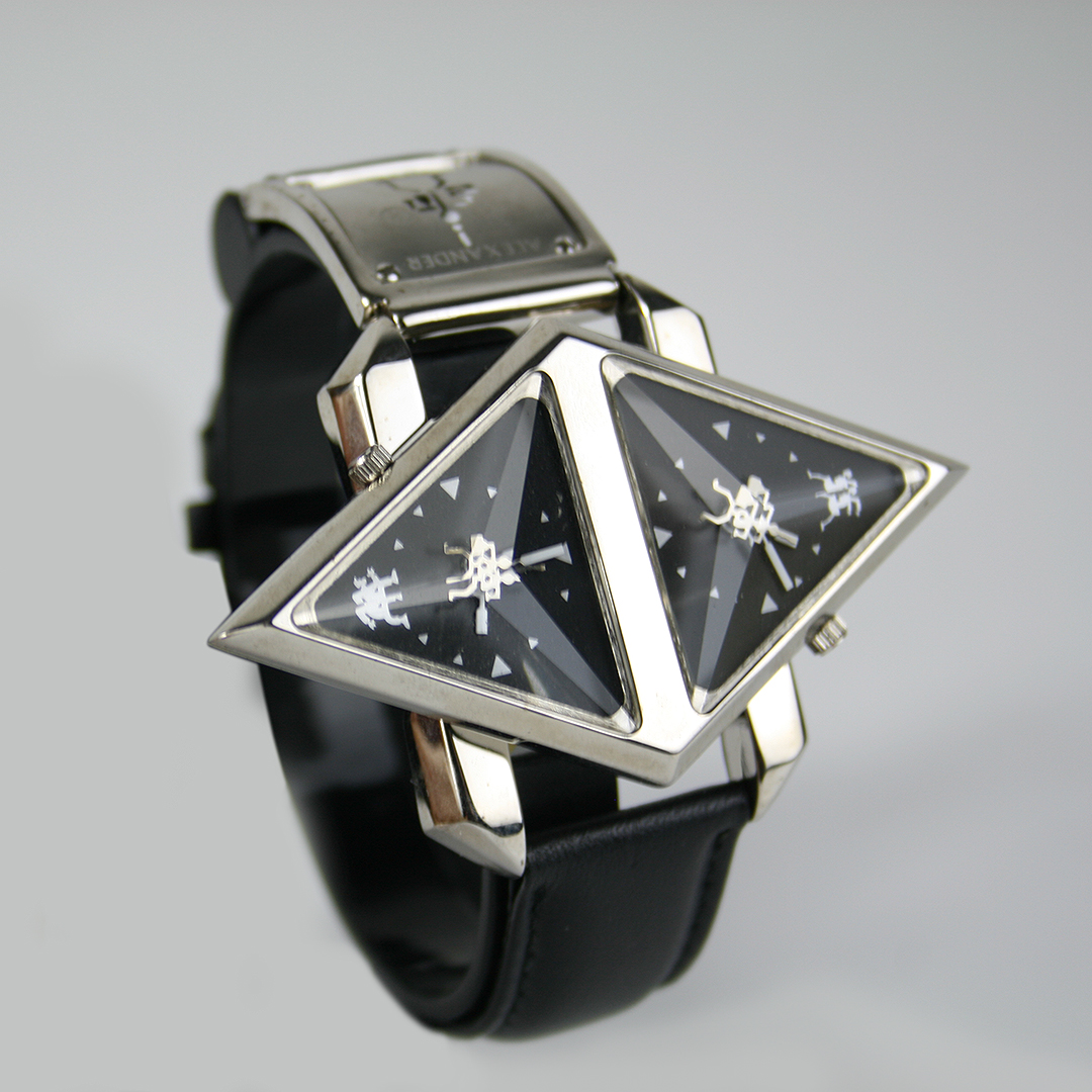 wrist watch cyber punk futuristic Steampunk Double Rotating Pyramid leather strap