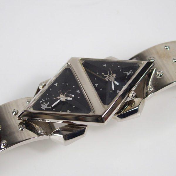 wrist watch cyber punk futuristic Steampunk Double Rotating Pyramid metal strap