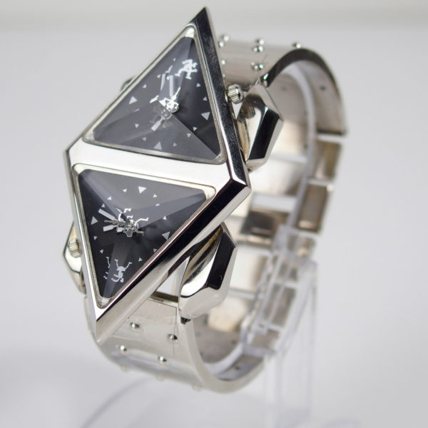 wrist watch cyber punk futuristic Steampunk Double Rotating Pyramid metal strap