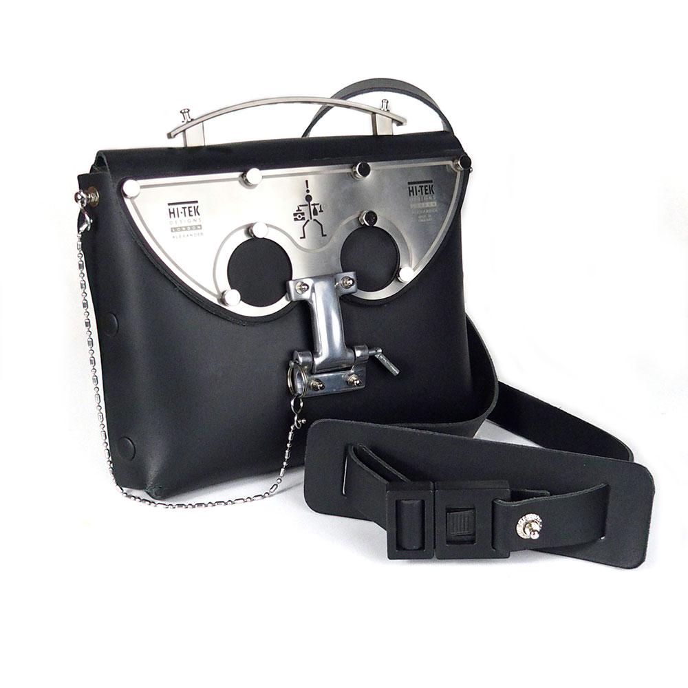 black leather cross body bag, statmeent bag, futuristic, sci fi unusual unique