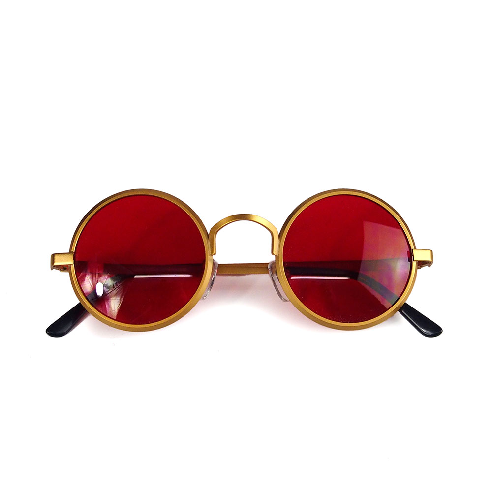 round gold sunglasses red lens