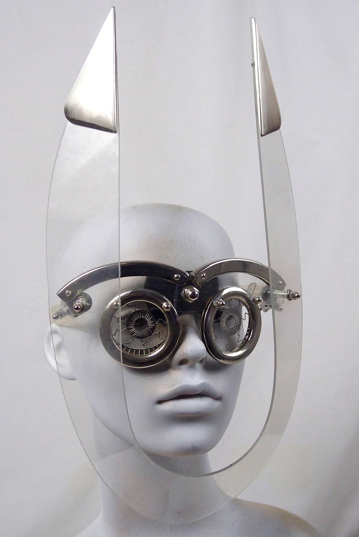 handmade futuristic mask with devil horns unusual eye wear Hi Tek