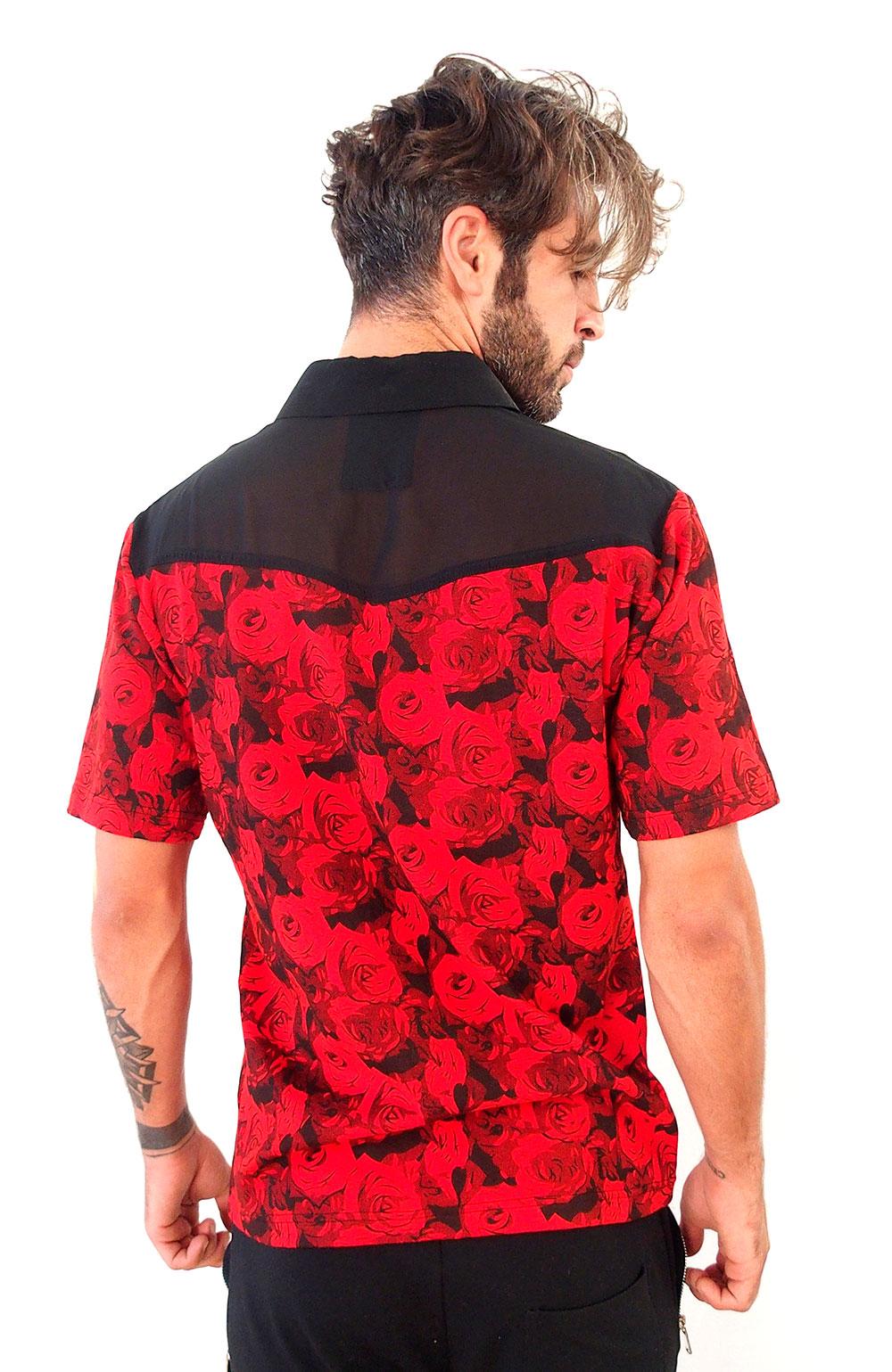 mens dress T-shirt red floral jersey and black silk Hi-Tek