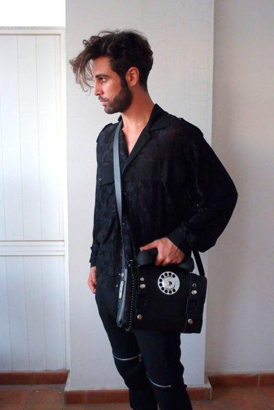 mens black leather crossbody shoulder bag with telephone handle unusual unique