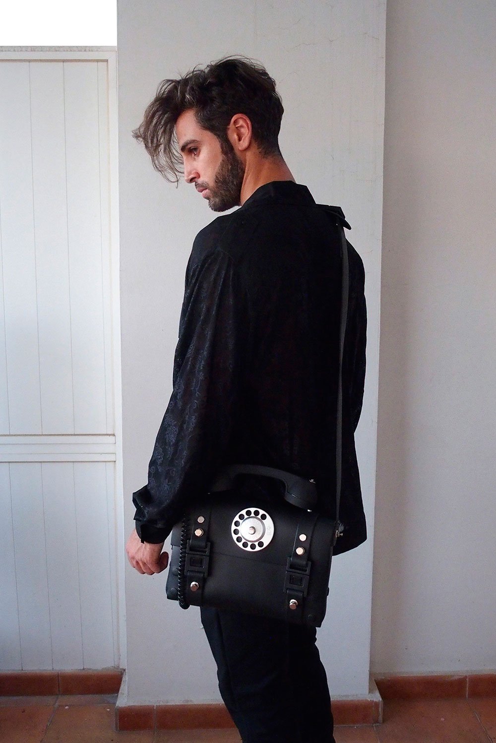 mens black leather crossbody bag