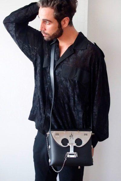 mens black leather cross body bag, statmeent bag, futuristic, sci fi unusual unique