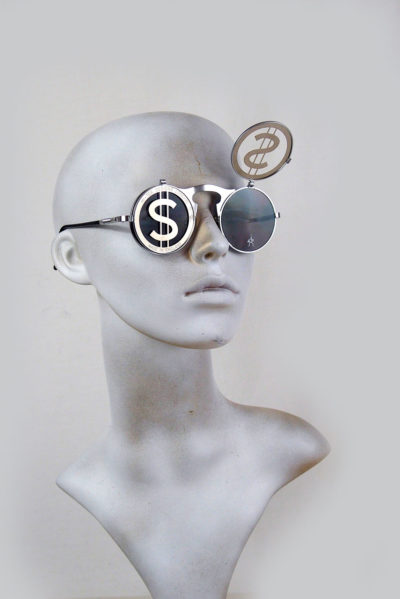 Round metal flip up sunglasses perforated stainless steel lens Dollar