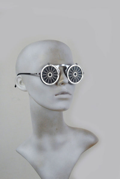 Vintage Round metal flip up sunglasses perforated stainless steel lens Bicycle