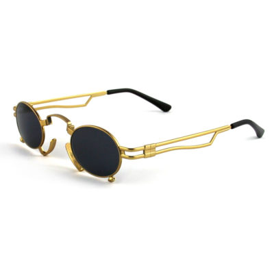 gold oval sunglasses polarized lens Hi Tek HT-164 Goth Steampunk style