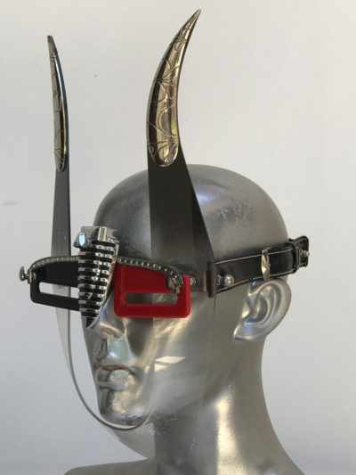 handmade futuristic mask with devil horns unusual eye wear Hi Tek