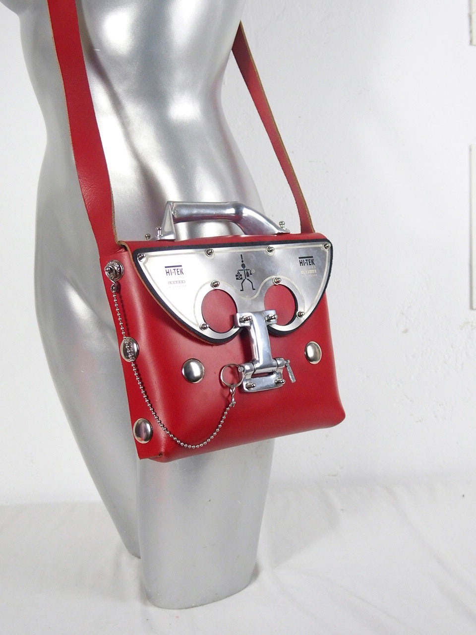 red leather cross body shoulder bag unusual statement futuristic medium size